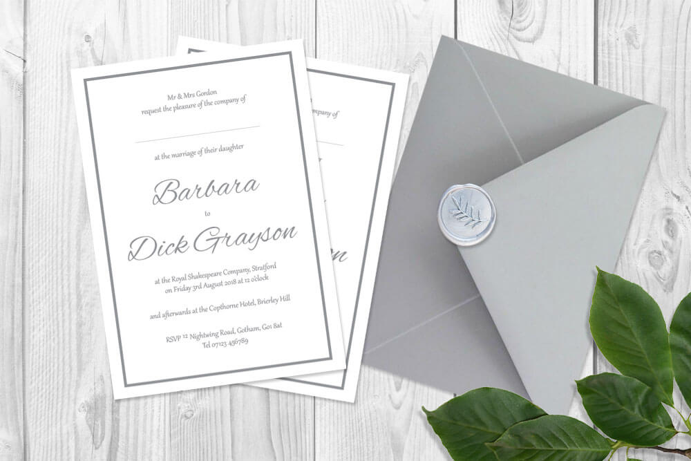 Wedding Stationery classic grey silver and white simple wedding invitation