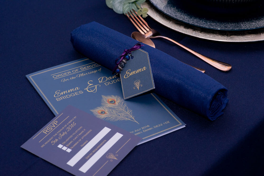 Wedding Stationery Navy and gold peacock themed rsvp, place name tag and order of service