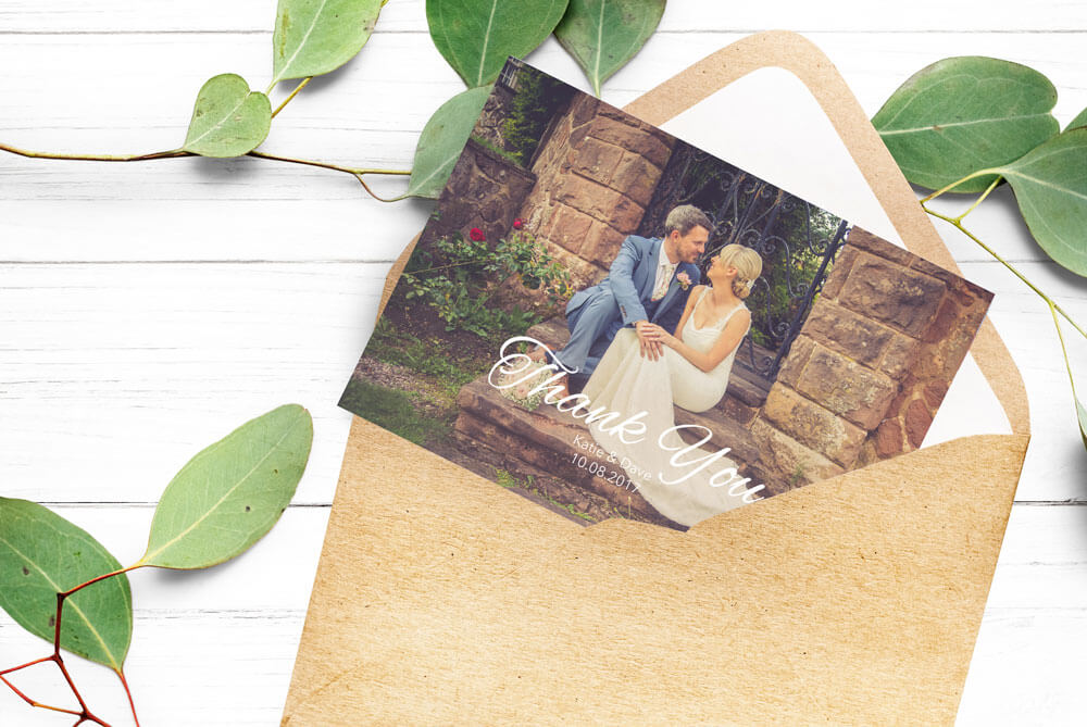 Wedding Stationery thank you card with wedding photo of bride and groom and kraft envelope
