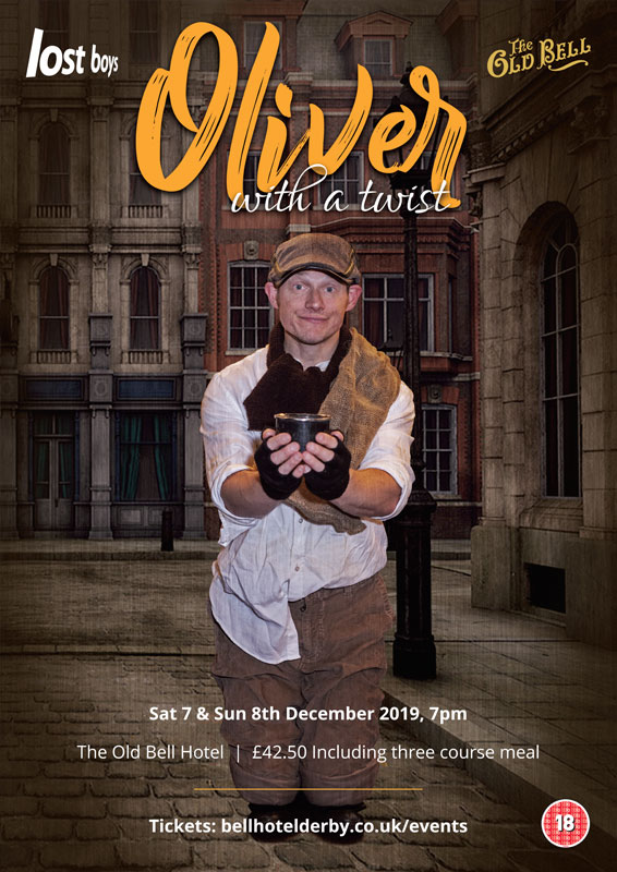 Theatre and Event poster and flyer marketing promotional image design for Oliver with a Twist