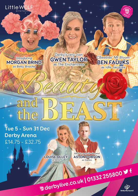 Theatre and Event poster and flyer marketing promotional image design for Beauty and the Beast Pantomime