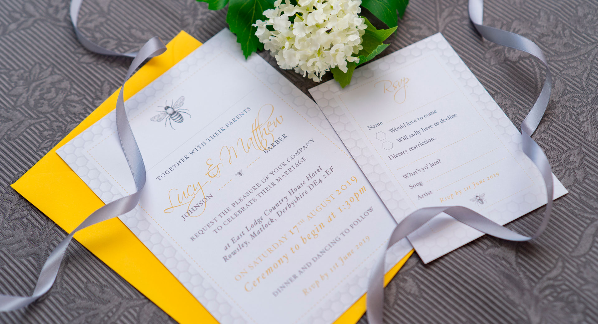 Wedding Stationery Yellow and grey bee and honeycomb themed wedding invitation