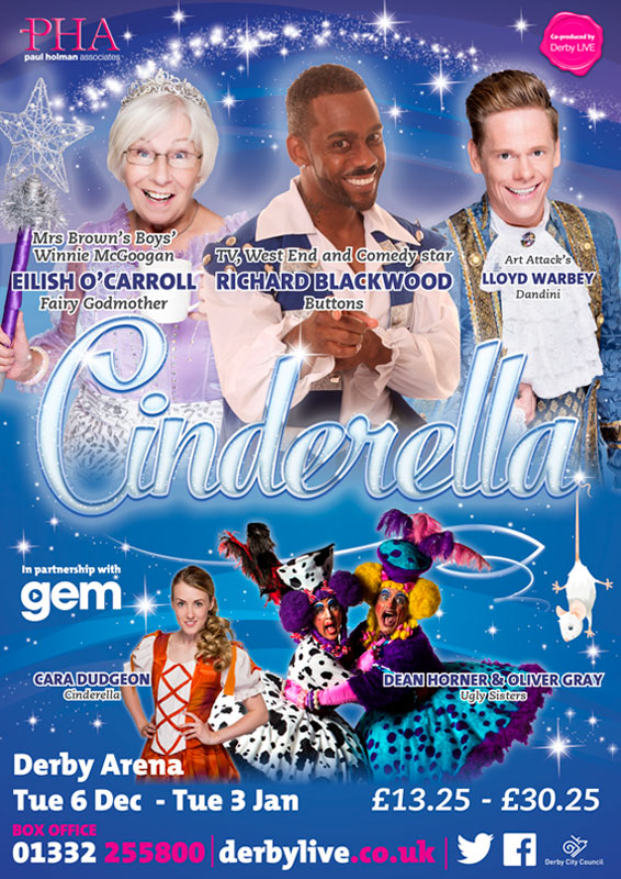 Theatre and Event poster and flyer marketing promotional image design for Cinderella Pantomime