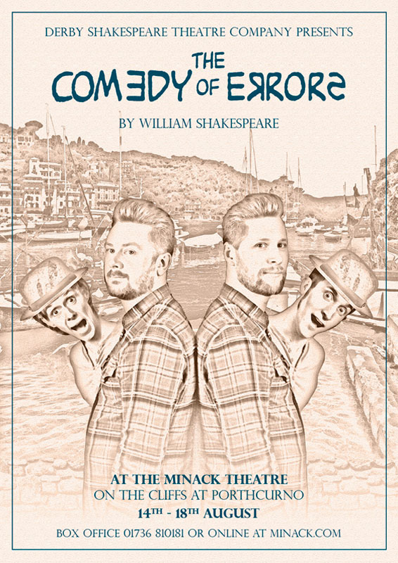 Theatre and Event poster and flyer marketing promotional image design for The Comedy of Errors at The Minack