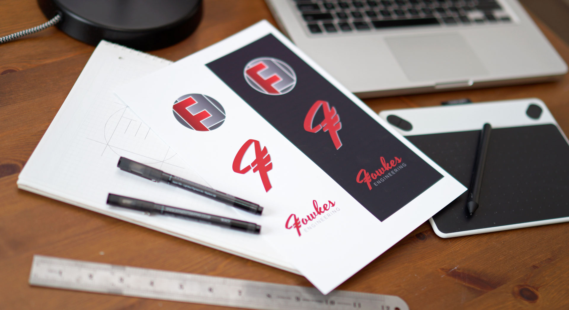 Design for business header image showing logo design