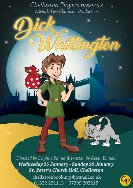 Theatre and Event poster and flyer marketing promotional image design for Dick Whittington Pantomime