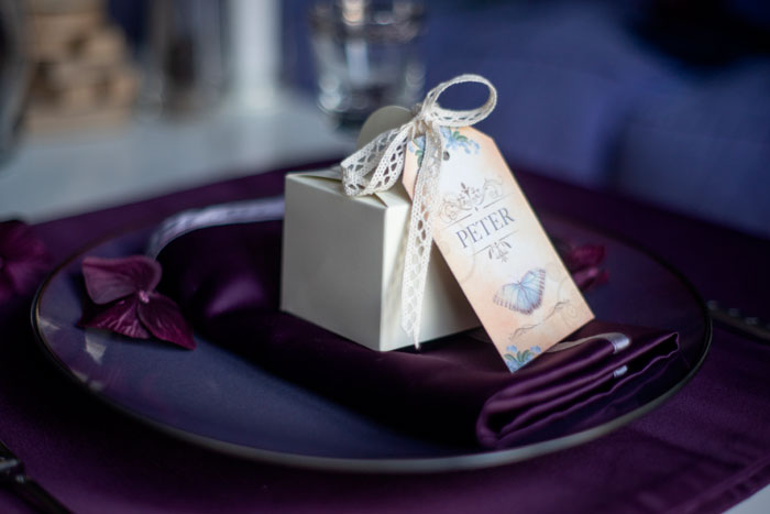 Wedding Breakfast Tables victorian butterfly gift tag for wedding favours