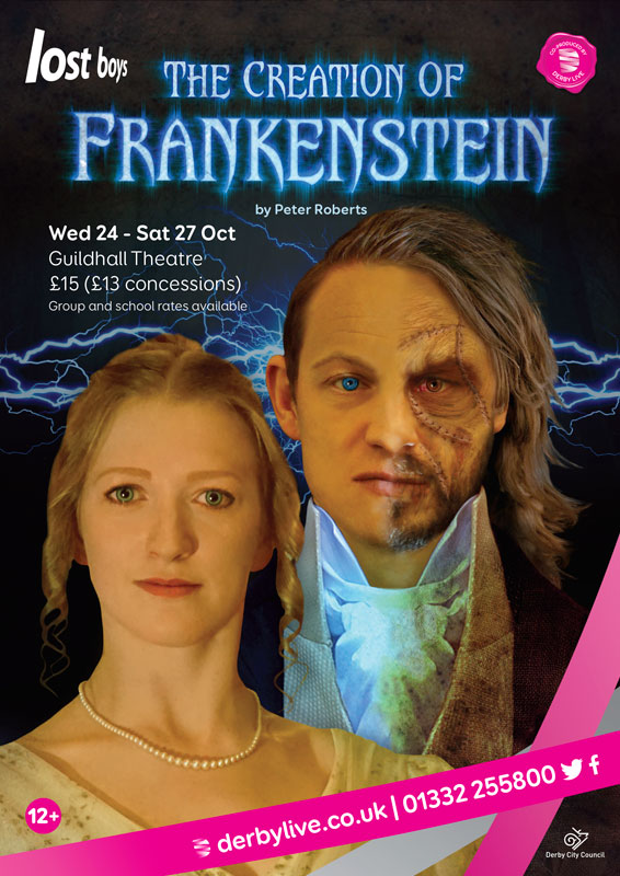 Theatre and Event poster and flyer marketing promotional image design for The Creation of Frankenstein