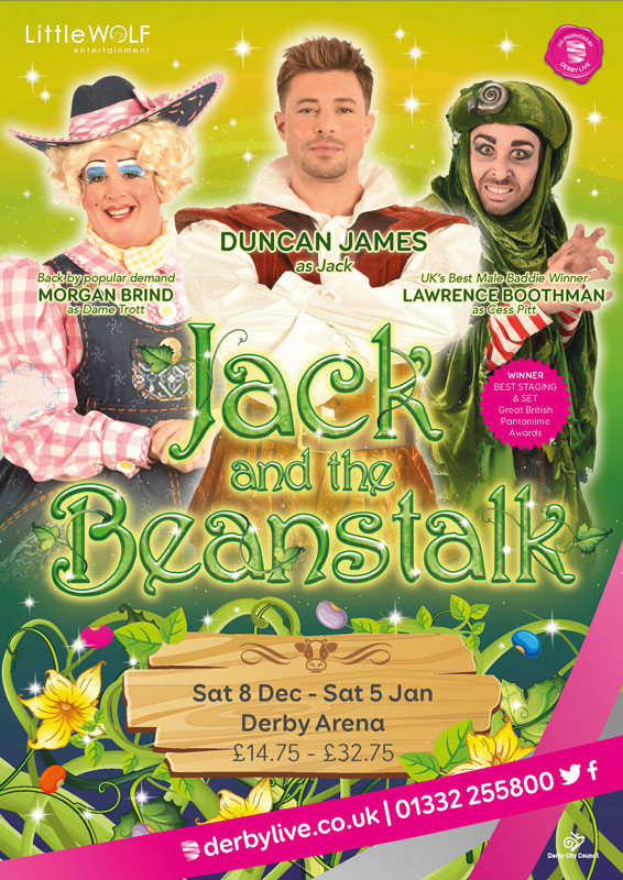 Theatre and Event poster and flyer marketing promotional image design for Jack and the beanstalk pantomime