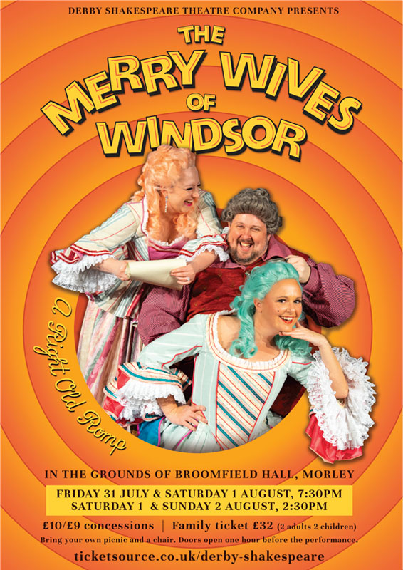 Theatre and Event poster and flyer marketing promotional image design for Shakespeare's The Merry Wives of Windsor