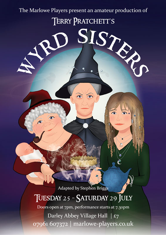 Theatre and Event poster and flyer marketing promotional image design for Terry Pratchett's Wyrd Sisters
